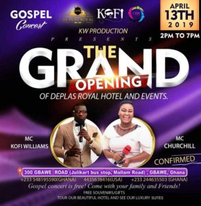 KW Production Presents  Gospel Concert for Grand Opening of Deplas Royal Hotel and Events