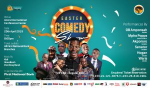LOL! Time to Laugh out Loud with Okpororo, MPHO Popps, Senator in Accra for Easter Comedy Show April 20
