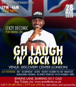 Lekzy De Comic Set To Take Off with GH Laugh 'N' Rock UK